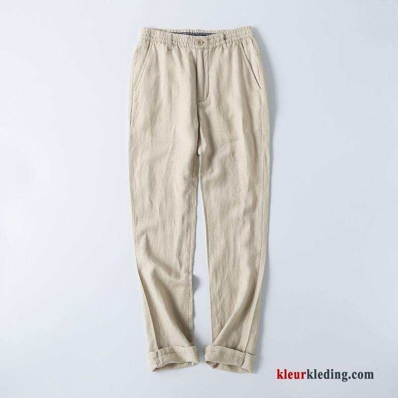 casual broek heren zomer dunne grijs grote maten katoen en linnen