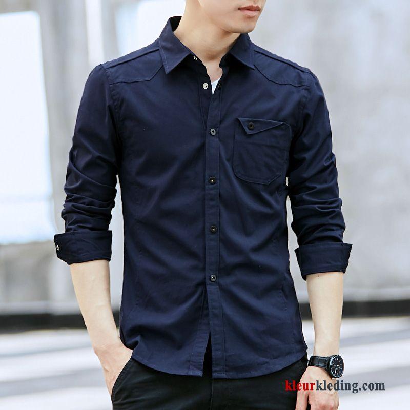 Grijs Overhemd Heren.Casual Heren Effen Kleur Overhemd Geklede Wit Lange Mouwen Grijs Online