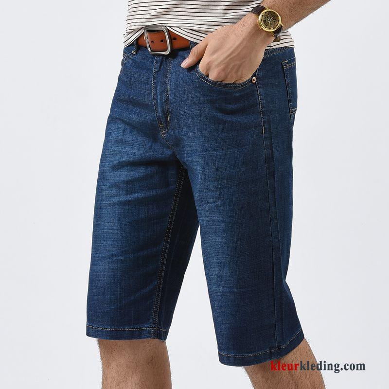 Jeans Korte Broek Heren.Denim Korte Broek Donkerblauw Mannelijk Heren Casual Zomer Trend