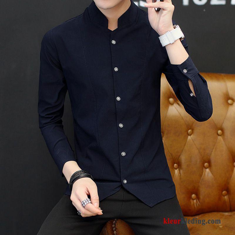 Donkerblauw Overhemd.Donkerblauw Overhemd Vintage Jasje Casual Lange Mouwen Chinese Stijl
