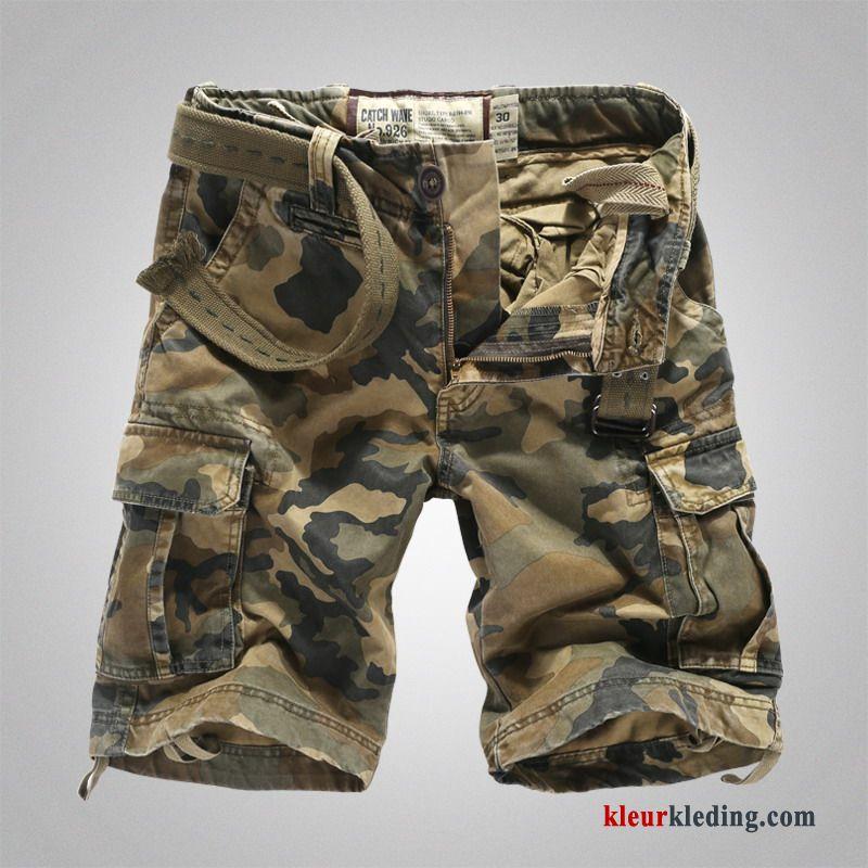 Maten Korte Broek Heren.Heren Cargo Korte Broek Camouflage Losse Rechtdoor Grote Maten Zomer