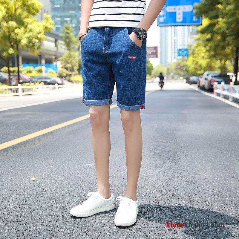 Korte Jeans Broek Heren.Heren Slim Fit Zomer Dunne Korte Broek Gaten Trend Spijkerbroek