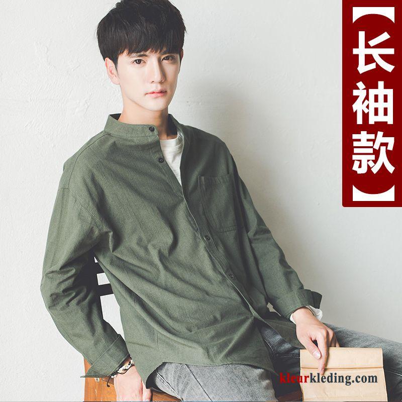 Overhemd Hoge Boord Heren.Heren Trend Losse Zwart Mouw Overhemd Hoge Kraag Student Online