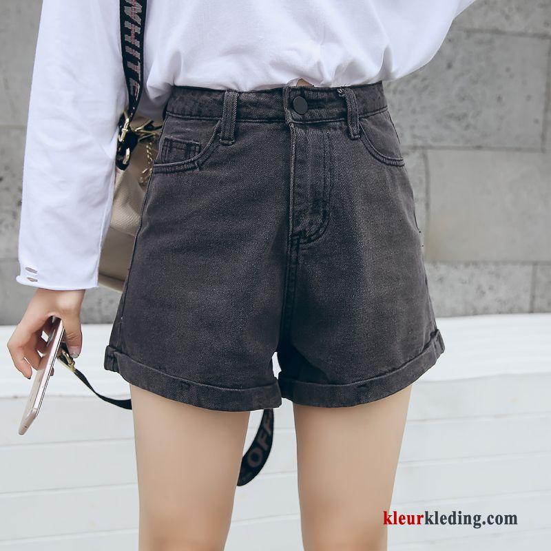 Dames Korte Broek Zwart.Korte Broek Denim Zomer Zwart Hoge Taille Vintage Plooiende Nieuw