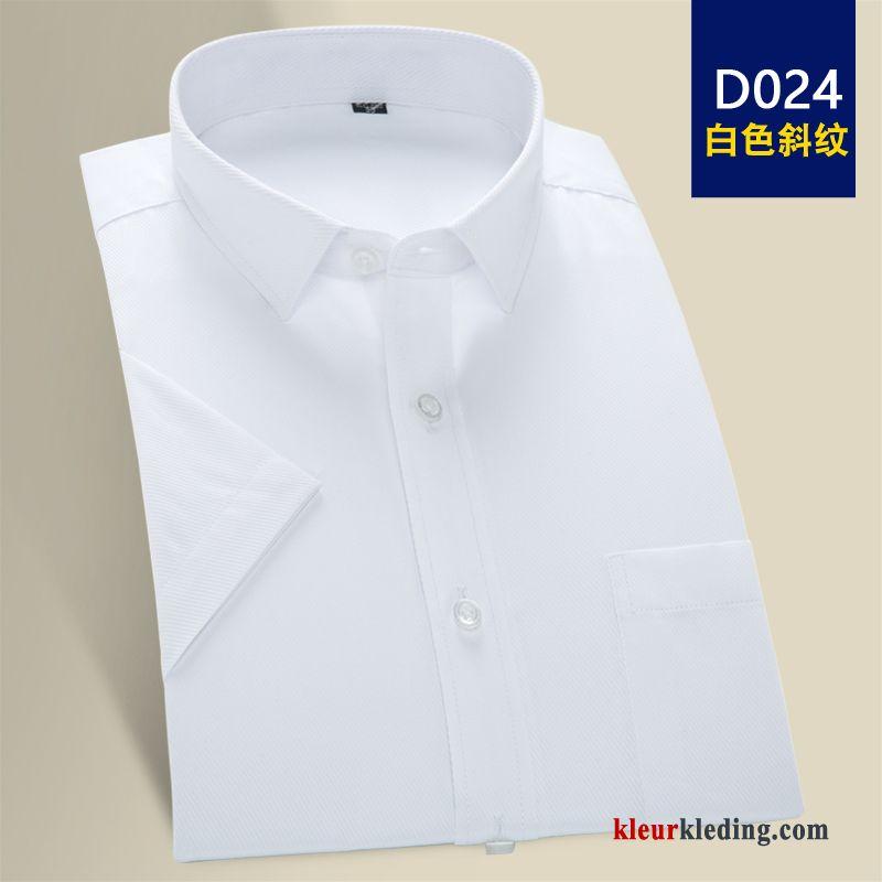 Wit Heren Overhemd.Overhemd Kort Mouw Wit Korte Mouw Bedrijf Heren Overhemd Werk Blauw