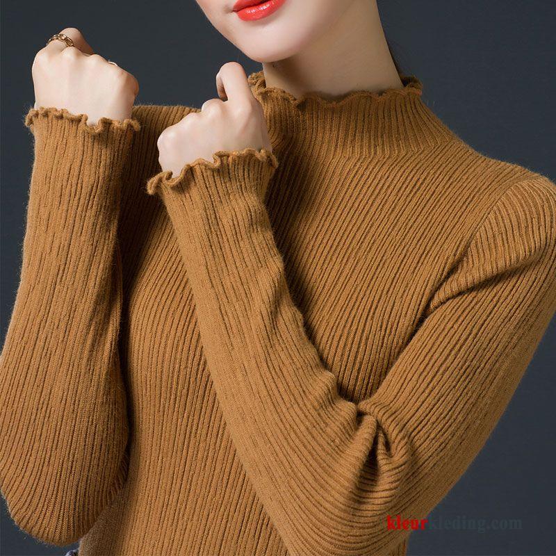 Bruine Lange Trui.Breien Pullover Lange Mouwen Winter Onderhemd Dames Trui Elastiek