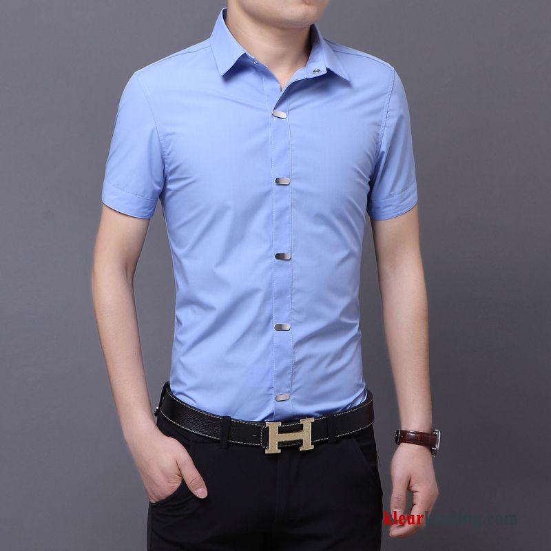 Heren Slim Fit Overhemd.Casual Blauw Overhemd Kort Mouw Geklede Bedrijf Heren Slim Fit Effen
