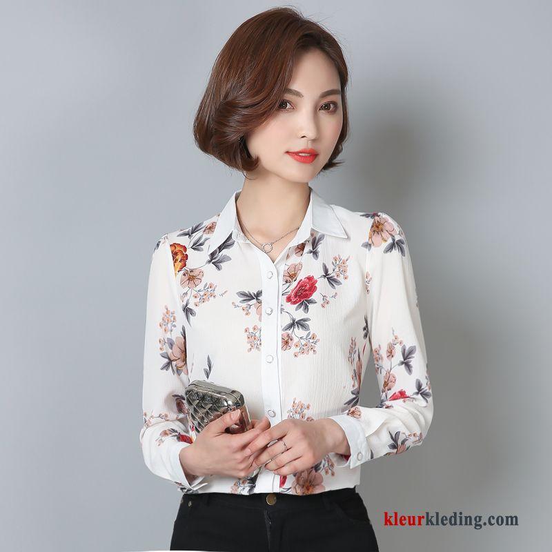 Blouse Of Overhemd.Dames 2018 Blouse Overhemd Chiffon Slim Fit Bedrukken Elegante Nieuw