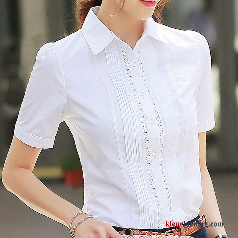 Dames Overhemd.Dames Overhemd Korte Mouw Werkkleding Blouse Overhemd Jasje Zomer