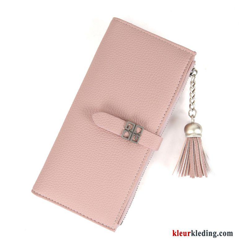 Portemonnee Dames Roze.Dames Voorjaar Eenvoudig Mode Portemonnee Student Lange Roze Goedkoop