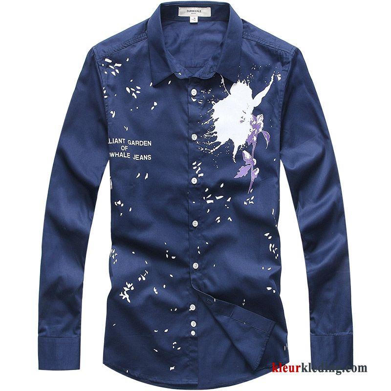 Overhemd Wit Slim Fit.Donkerblauw Casual Overhemd Wit Dunne Slim Fit Bedrukken Heren