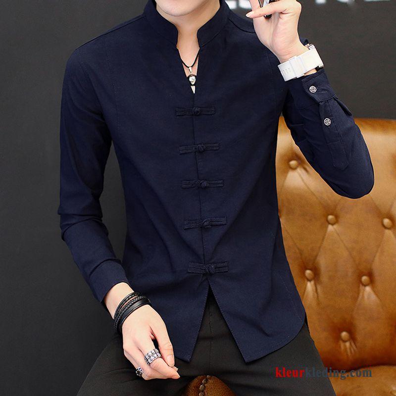 Donkerblauw Heren Overhemd.Donkerblauw Overhemd Vintage Jasje Casual Lange Mouwen Chinese Stijl