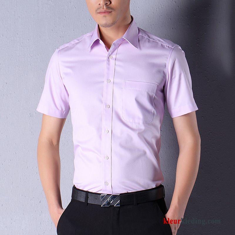 Roze Overhemd.Geklede Zomer Mooi Roze Overhemd Kort Mouw Heren Bedrijf Slim Fit Online