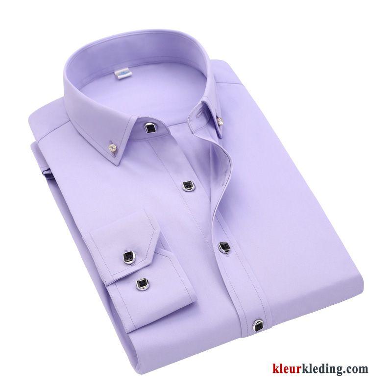 Slim Fit Wit Overhemd.Heren Blauw Geklede Draak Purper Wit Overhemd Effen Kleur Slim Fit