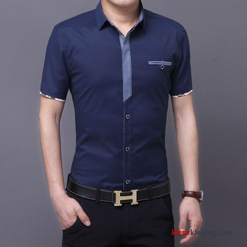 Donkerblauw Overhemd.Heren Overhemd Donkerblauw Jeugd Zomer Trend Overhemd Kort Mouw Slim