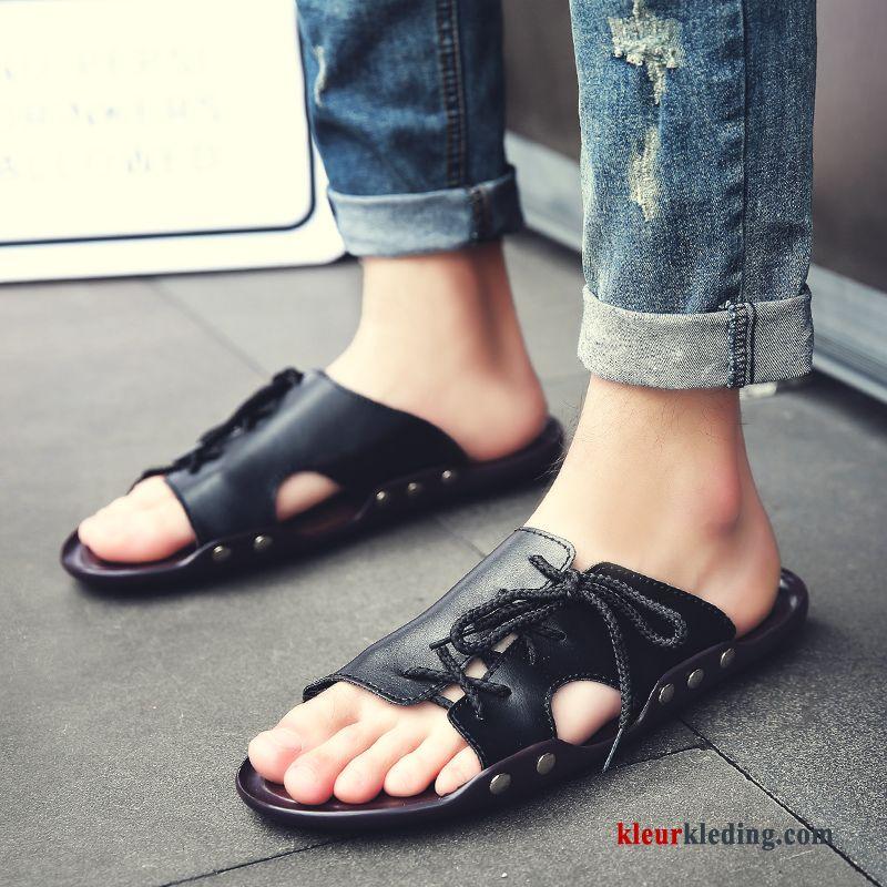 Heren Slipper Antislip Sandaal 2018 Schoenen Pantoffels Trend Zomer Strand Zwart