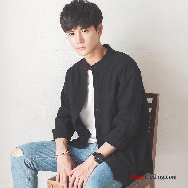 Heren Overhemd Hoge Boord.Heren Trend Losse Zwart Mouw Overhemd Hoge Kraag Student Online