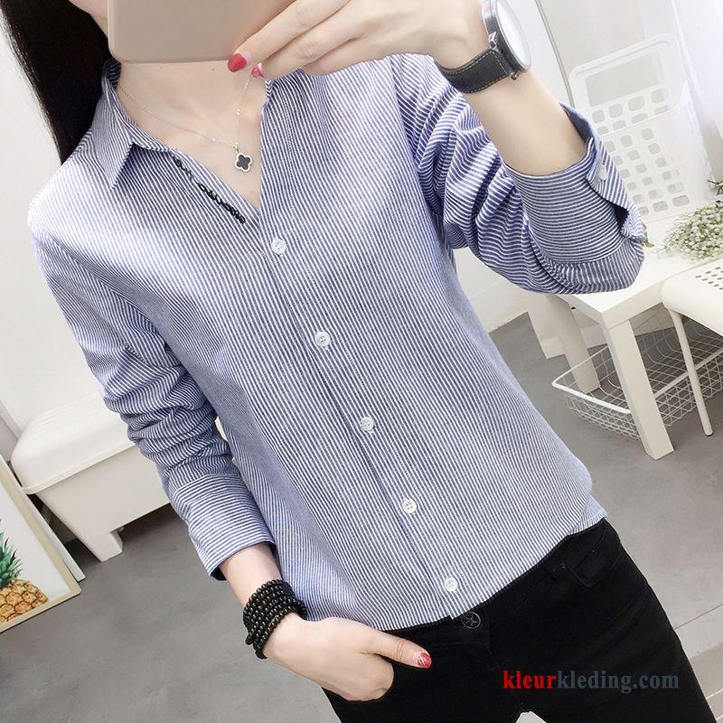 Dames Overhemd.Herfst Nieuw Borduurwerk Dames Overhemd Casual Blouse Overhemd 2018