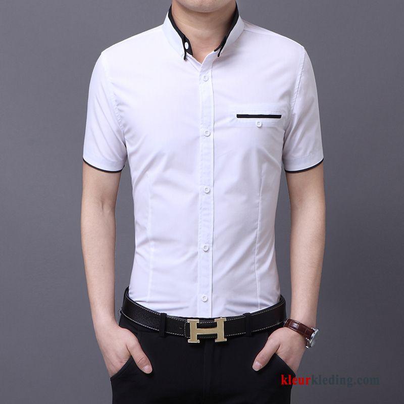Slim Fit Heren Overhemd.Jasje Trend Casual Heren Overhemd Kort Mouw Zomer Slim Fit Mannelijk