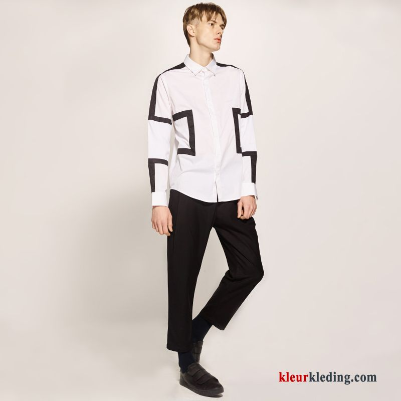Heren Overhemd Casual.Katoen Heren Overhemd Verbinding Herfst Casual Wit Lange Mouwen Kopen