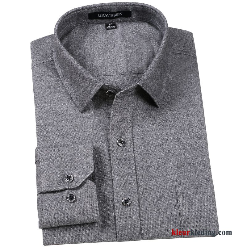 Grijs Overhemd Heren.Katoen Middelbare Leeftijd Overhemd Heren Mannelijk Dikke Grijs