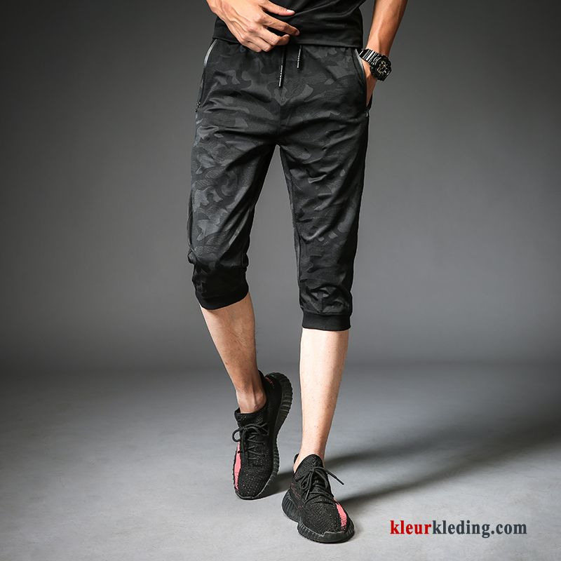 Sport Korte Broek Heren.Korte Broek Dunne Sport Zomer Capri Broek Mannelijk Zwart Slim Fit