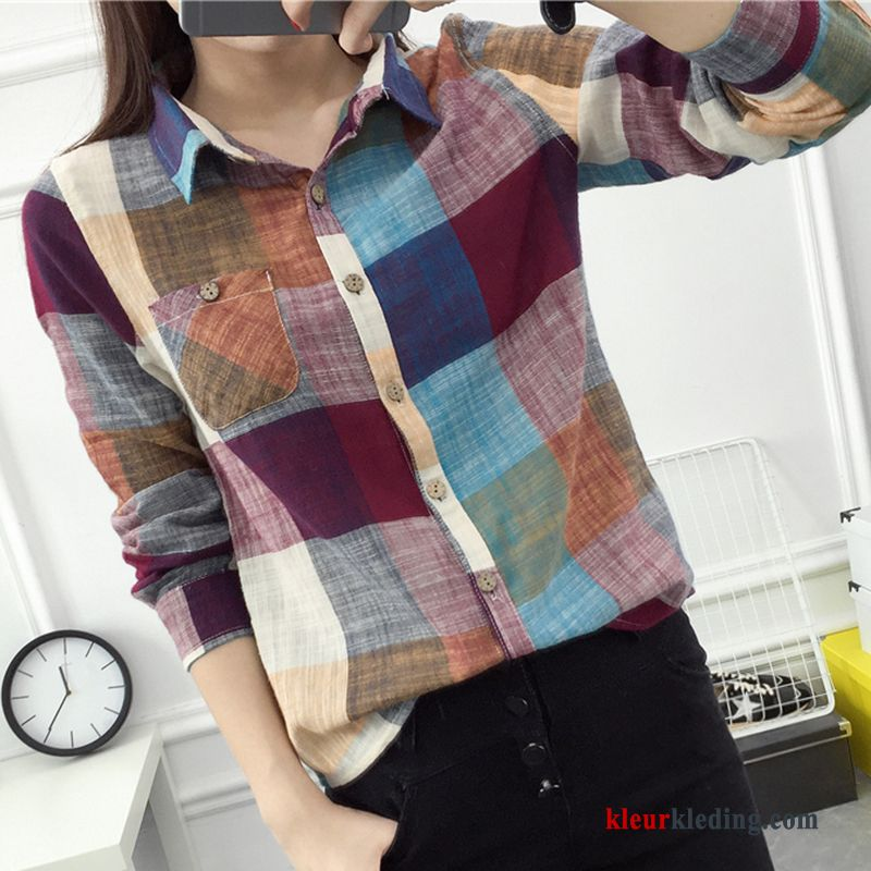 Blouse Of Overhemd.Overhemd Blouse Overhemd Dames Geruit Mini Jasje Vers Losse Sale