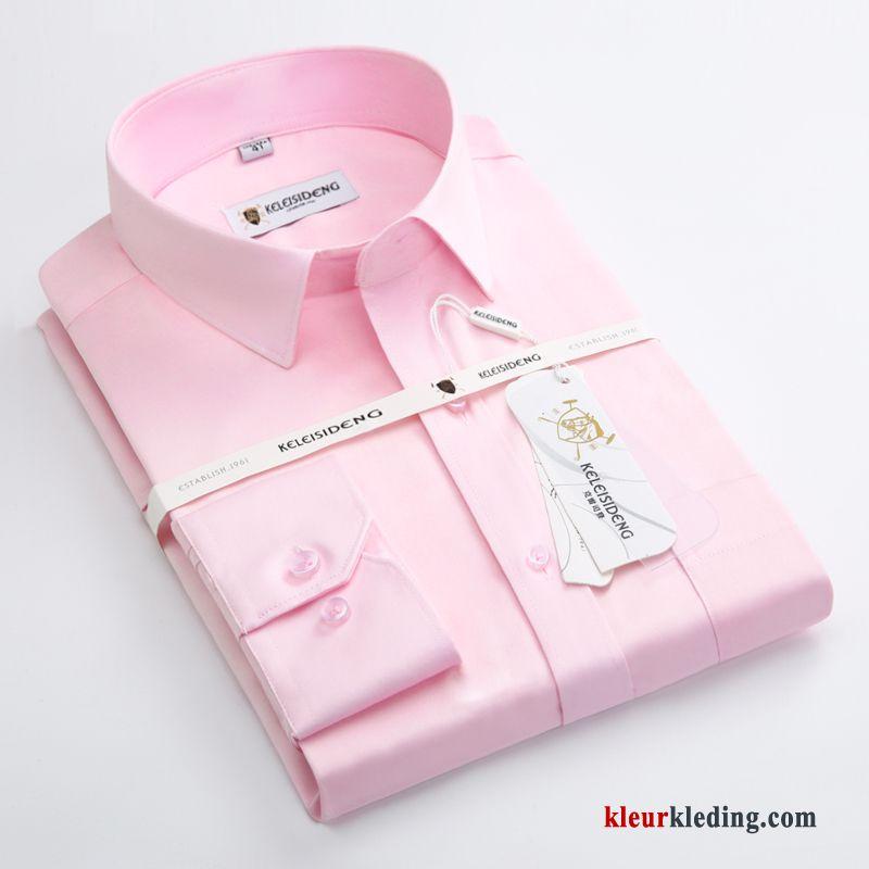 Overhemd Kopen Heren.Overhemd Cargo Mannelijk Huwelijk Roze Katoen Slim Fit Lange Mouwen