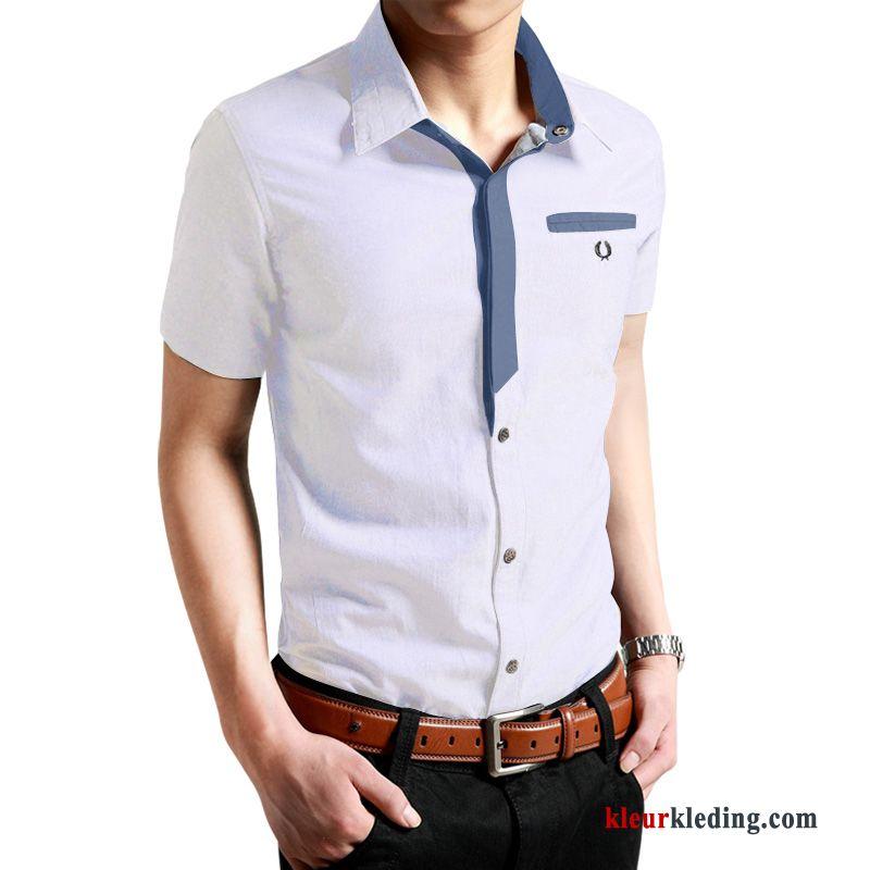 Jeans Overhemd Heren.Overhemd Kort Mouw Nieuw Slim Fit Wit Denim Trend Mannelijk Mooi