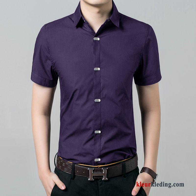 Overhemd Wit Slim Fit.Overhemd Kort Mouw Overhemd Wit Werk Heren Purper Slim Fit Trend