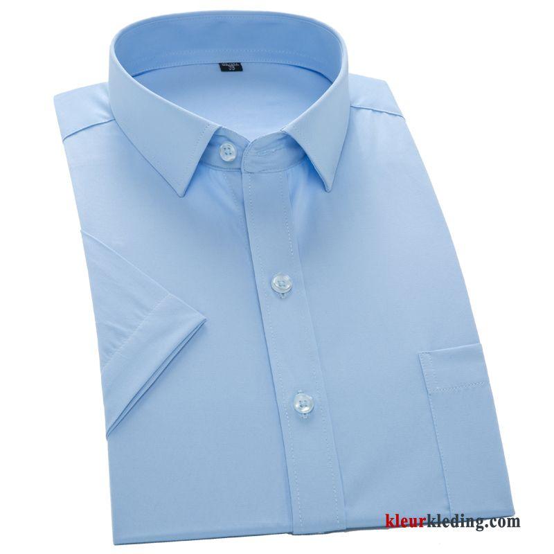 Overhemd Wit Korte Mouw.Overhemd Kort Mouw Wit Korte Mouw Bedrijf Heren Overhemd Werk Blauw
