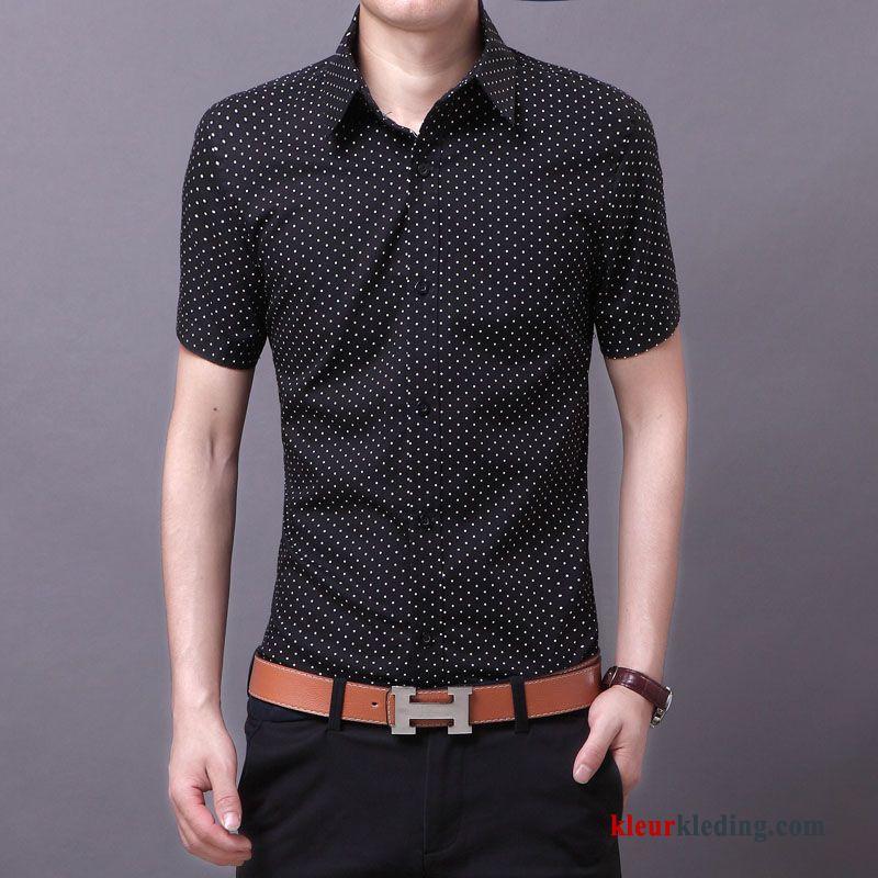 Heren Overhemd Zwart.Overhemd Kort Mouw Zomer Heren Overhemd Trend Casual Slim Fit Zwart