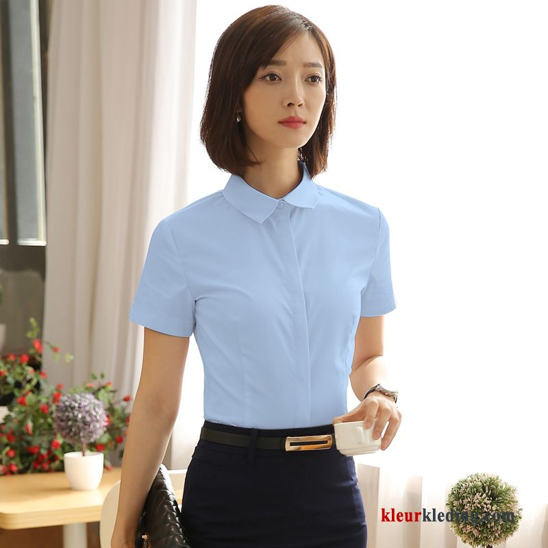Zomer Overhemd.Overhemd Korte Mouw Geklede Katoen Dunne Blauw Slim Fit Overhemd