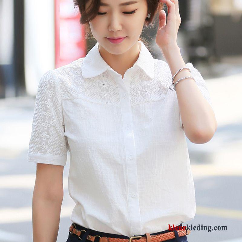 Blouse Of Overhemd.Overhemd Korte Mouw Korte Mouw Wit Blouse Overhemd Nieuw Werk Katoen