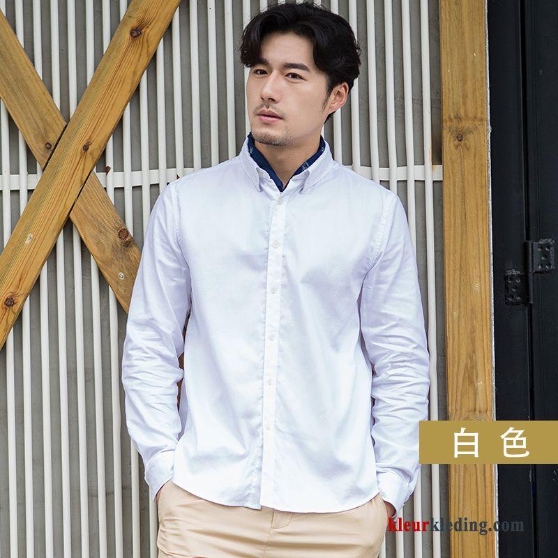 Overhemd Wit Slim Fit.Overhemd Wit Slim Fit Bedrijf Casual Lange Mouwen Heren Mannelijk