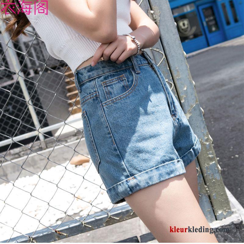 Korte Broek Dames Hoge Taille.Plooiende Dunne Trend Losse Hoge Taille Zomer Dames Korte Broek Online