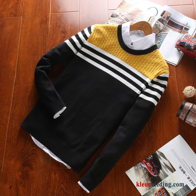Katoenen Trui Heren.Pullover Student Heren Katoen Trui Winter Gebreid Hemd Geel Sale
