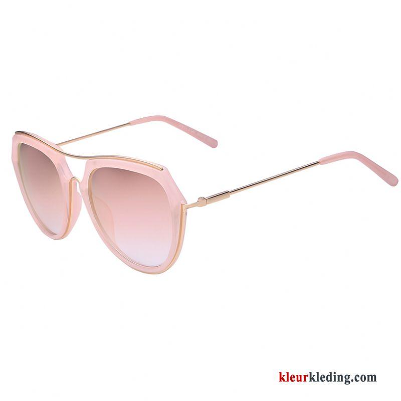 a0054b286a06a3 Roze Padden Reflecterende Dames Rond Gezicht Vintage 2018 Zonnebril Rood  Kopen
