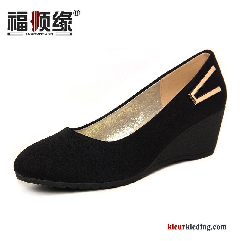 Vrouwen Werkschoenen.Sleehak Schoenen Pumps Casual Textiel Werkschoenen Vrouwen Elke Dag