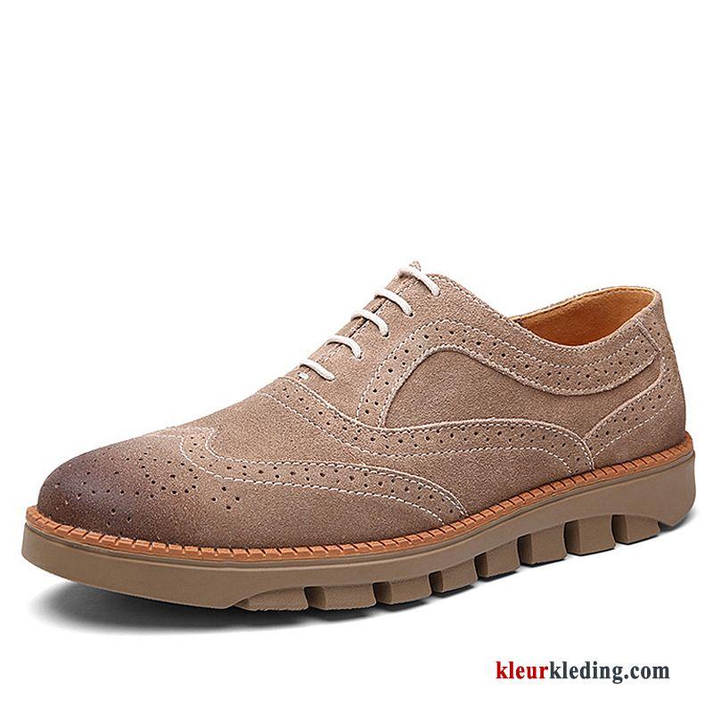 8eb789cbe5b Sportschoenen Echt Leer Brits Trend Schoenen Bloemen Leren Schoenen Winter  Textiel Heren Kaki Goedkoop