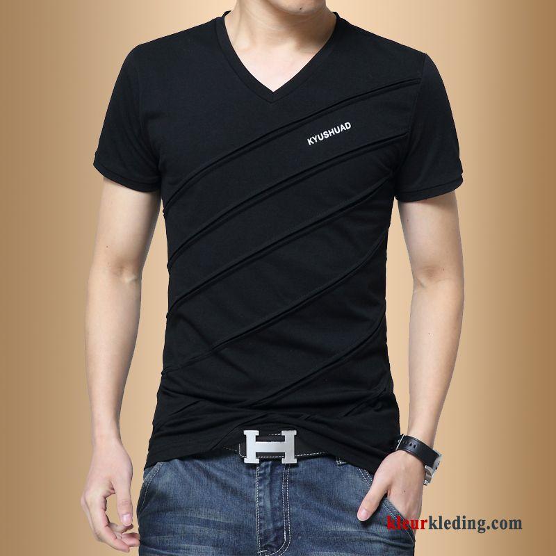 d0344533376 T-shirts Halve Mouw Slim Fit Katoen Heren Student Zomer Korte Mouw Trend