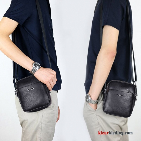 Business Schoudertas Echt Leer Mini Casual Messenger Tas Heren Rugzak Zwart