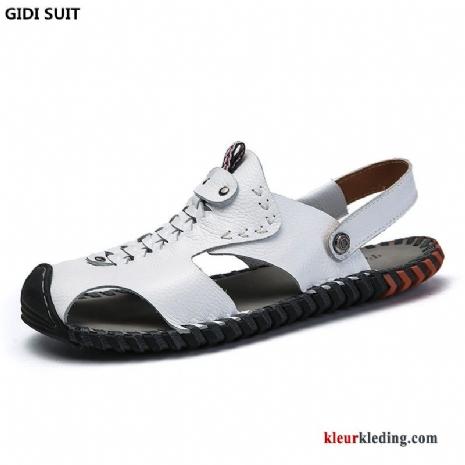 5cb94601801 Heren Sandaal Schoenen Leren Schoenen Persoonlijk Leer Pantoffels Mannen Echt  Leer Casual Wit