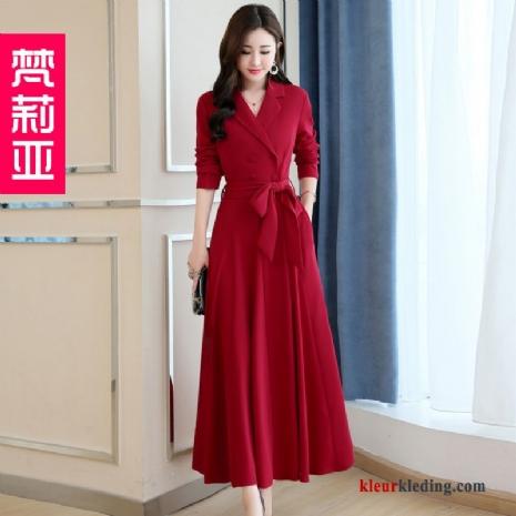 60ae919f39bccb Herfst Dames Elegante Rood Winter Nieuw Trend Jurk