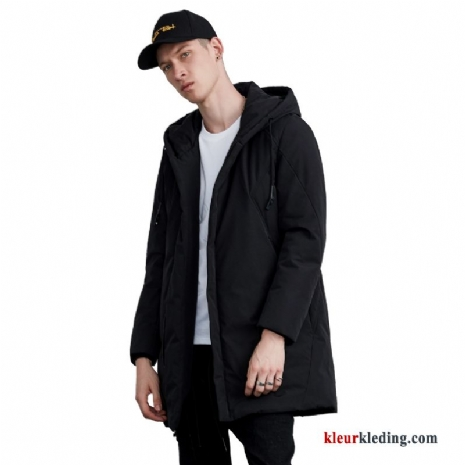 Slim Fit Zwart Donsjack Winter Lang Warme Jas Heren